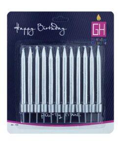 شمع مدادی 12عددی کوتاه نقرهای