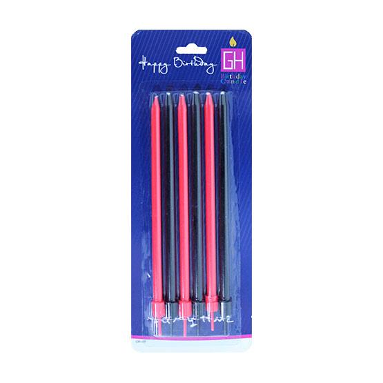 شمع مدادی 6عددی بلند قرمز مشکی