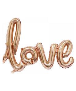 بادکنک فویلی LOVE بهم چسبیده رزگلد