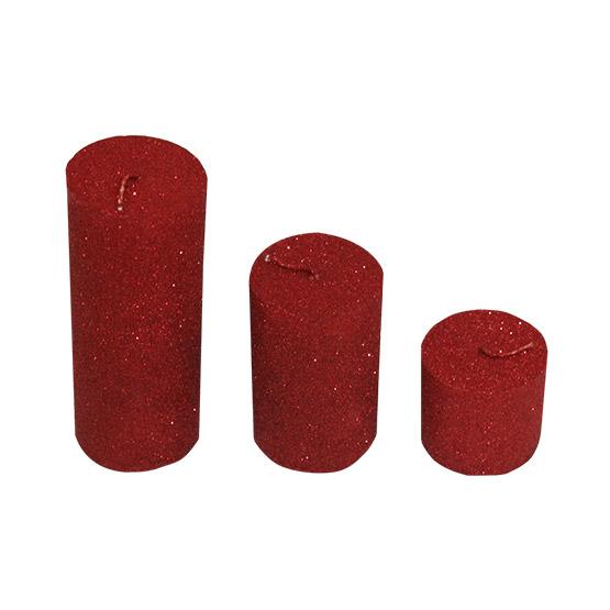 ست شمع استوانه اکلیلی قرمز